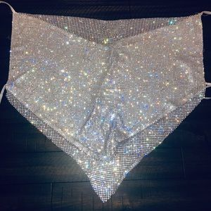 DIAMOND CROP TOP, tie neck and back